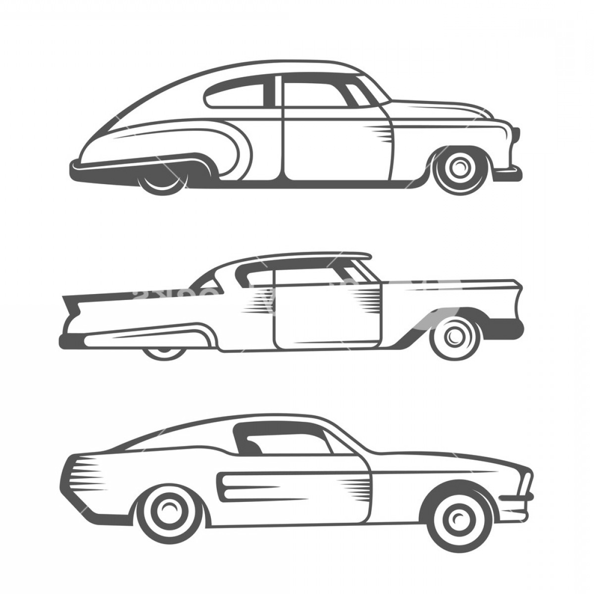 Lowrider Vector: Set Vintage Lowrider Cars And Elements Design Collection Black And White Classic And Old Retro Car Stock Vector Rsxkb Mgfjbzvu