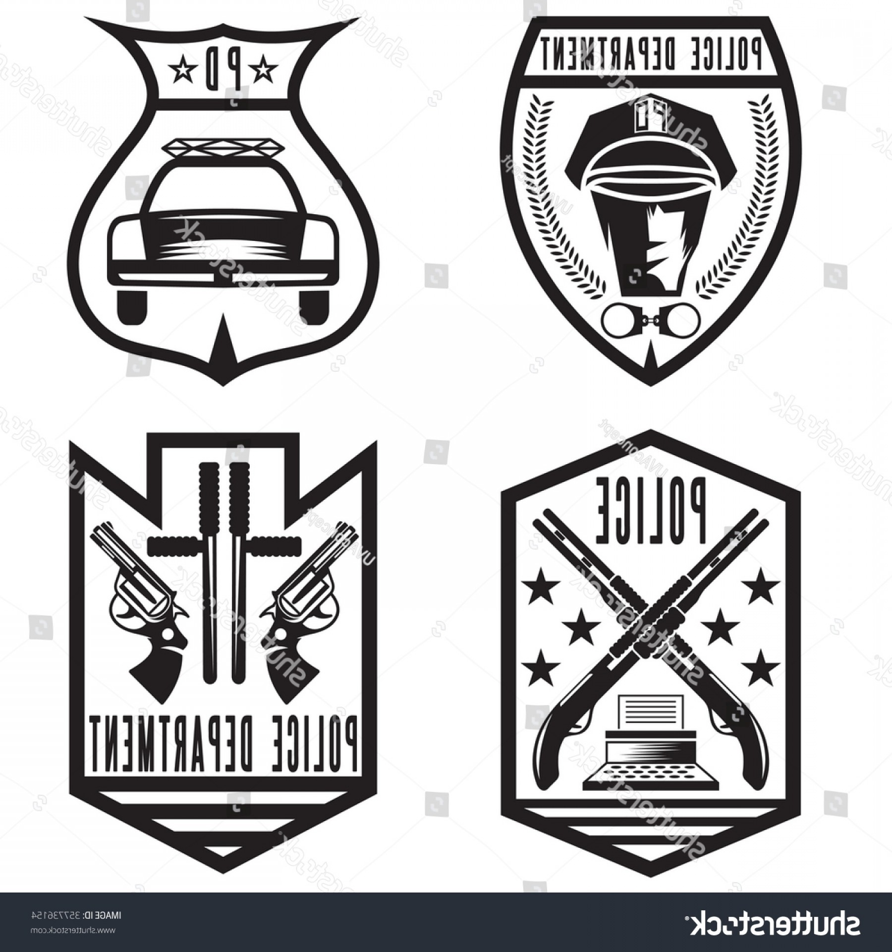 Law Enforcement Badges Vector: Set Vintage Police Law Enforcement Badges