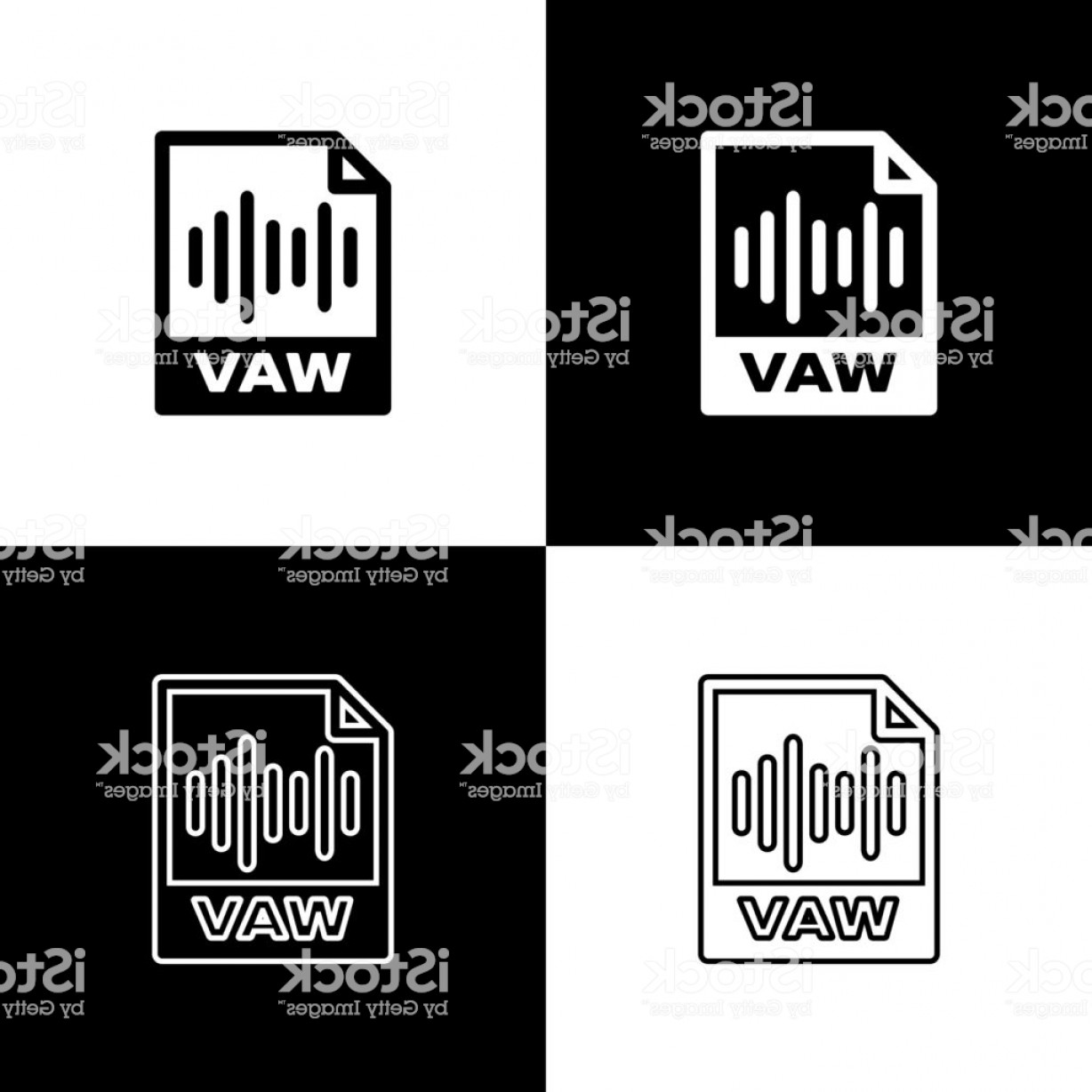File Formats Vector Artwork: Set Wav File Document Icon Download Wav Button Icons Isolated On Black And White Gm