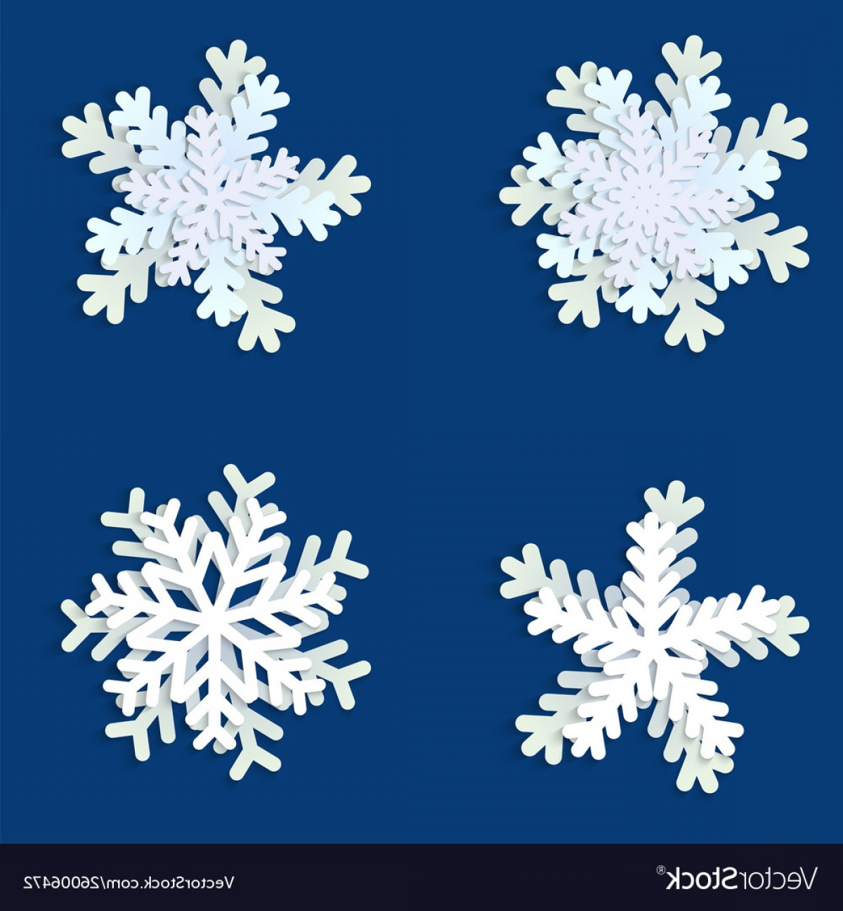 White Snowflake Vector Art: Set White And Blue Christmas Paper Snowflakes Vector