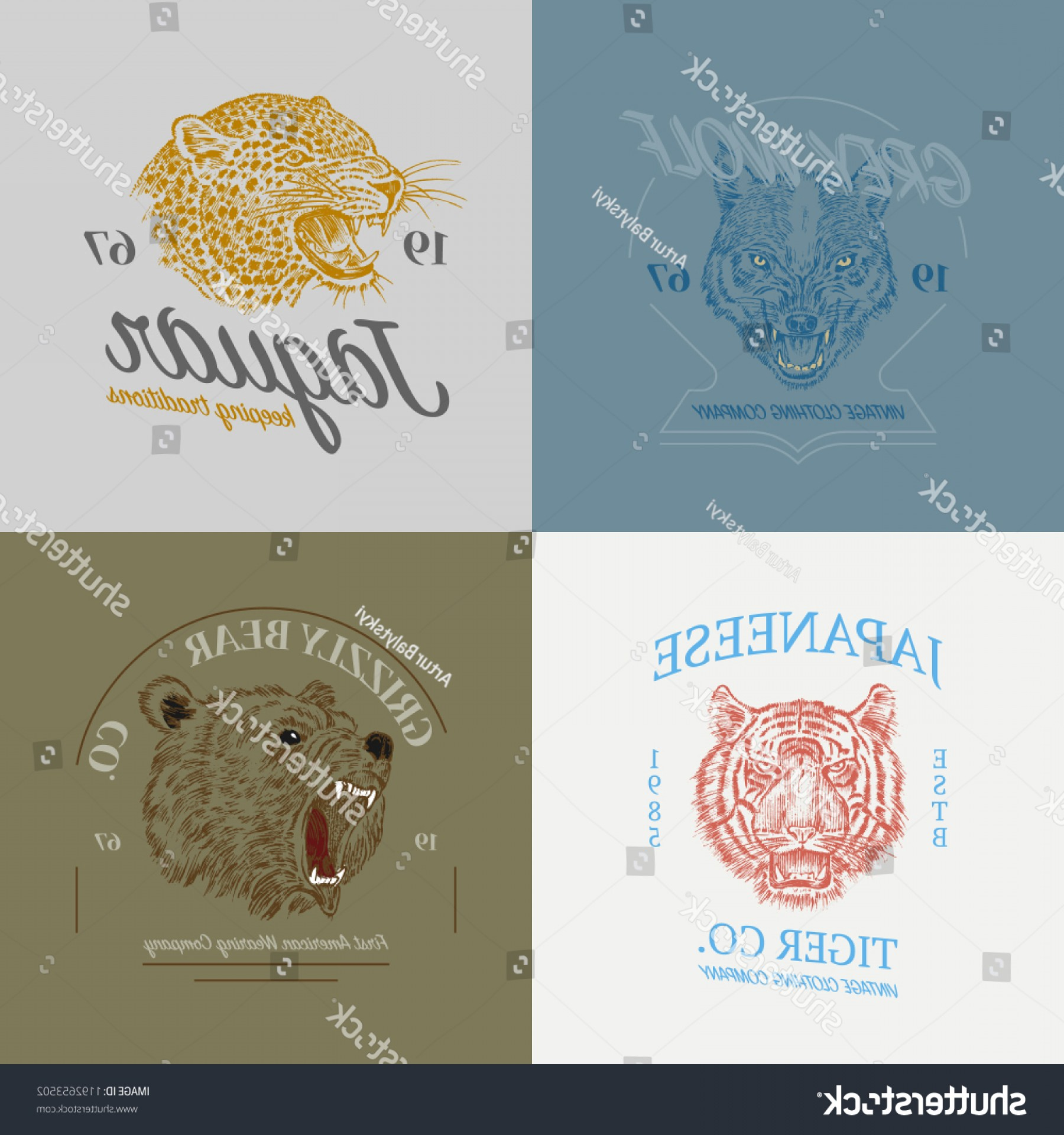Blue Tigers Lincoln Logo Vector Image: Set Wild Animals Logos Grunge Label