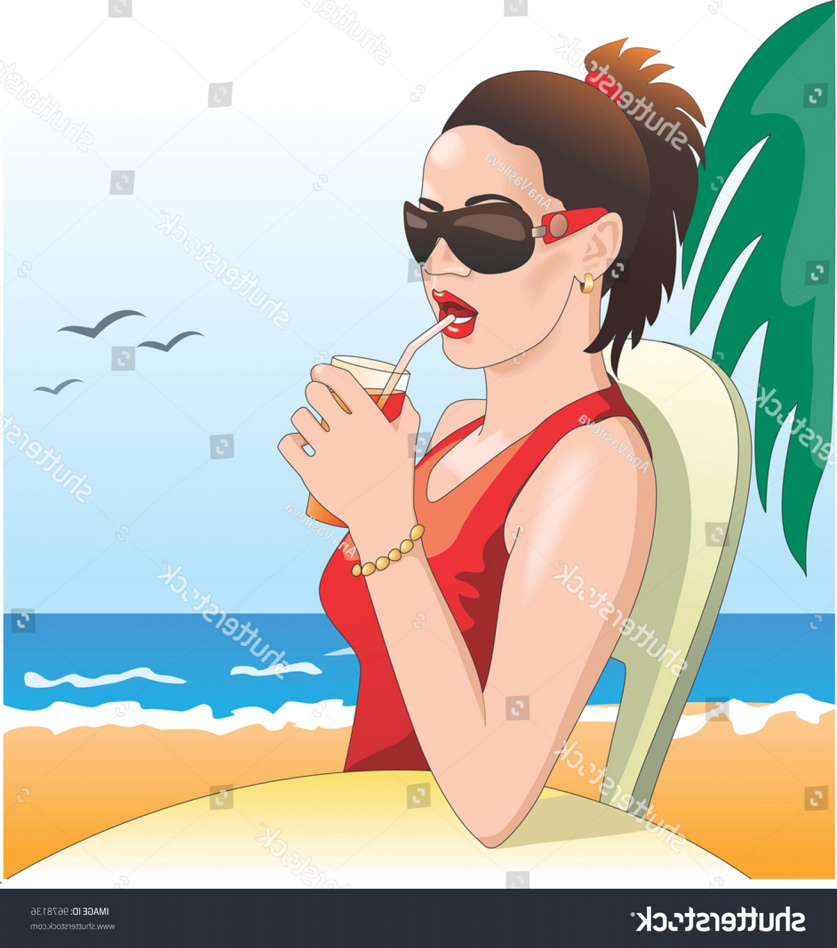 Vector Sexy Sunglasses: Sexy Girl Sunglasses On Beach Drinking