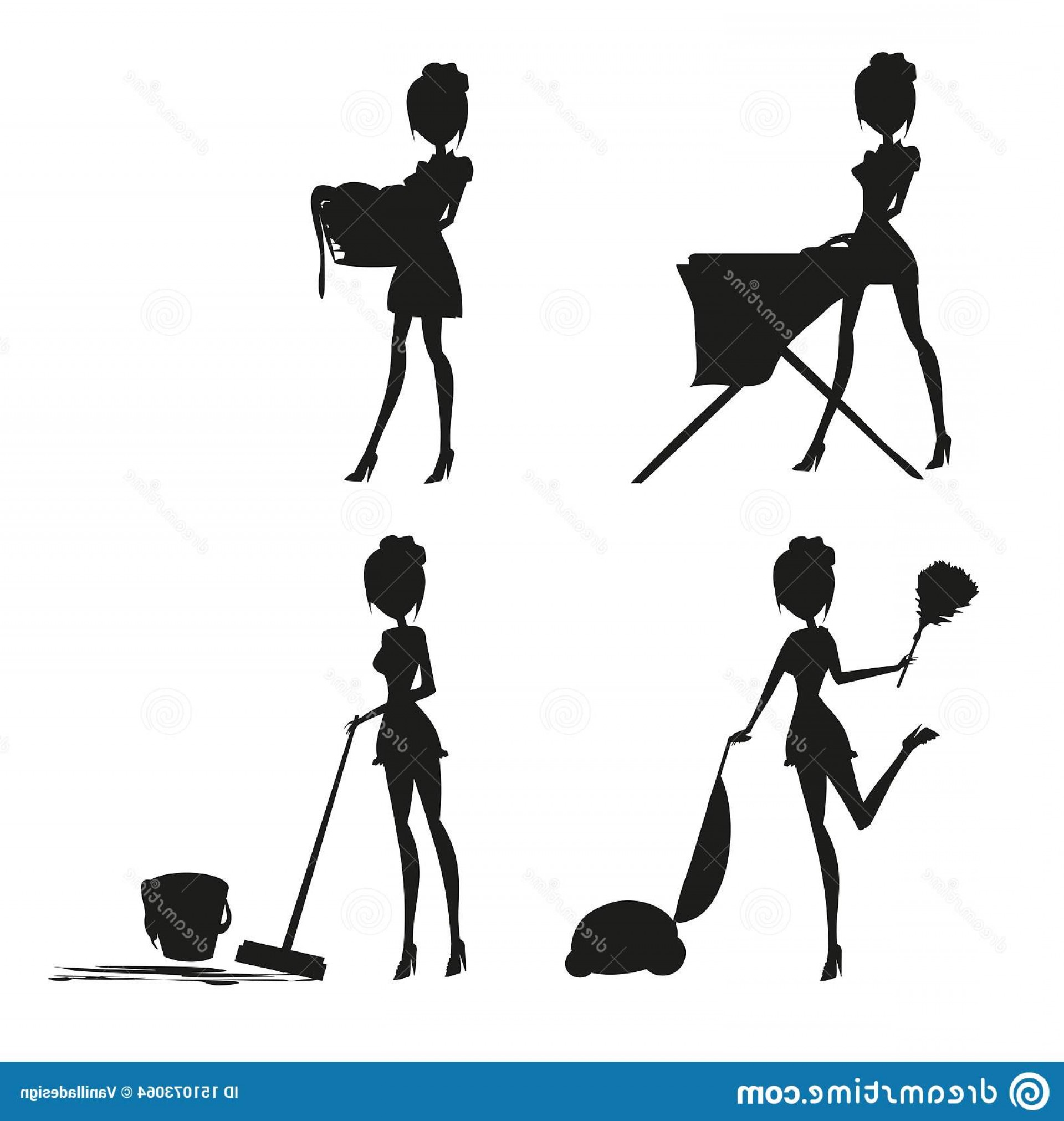 Sexy Silhouette Vector Art: Sexy Pinup Style French Maid Work Set Silhouette Vector Illustration Image