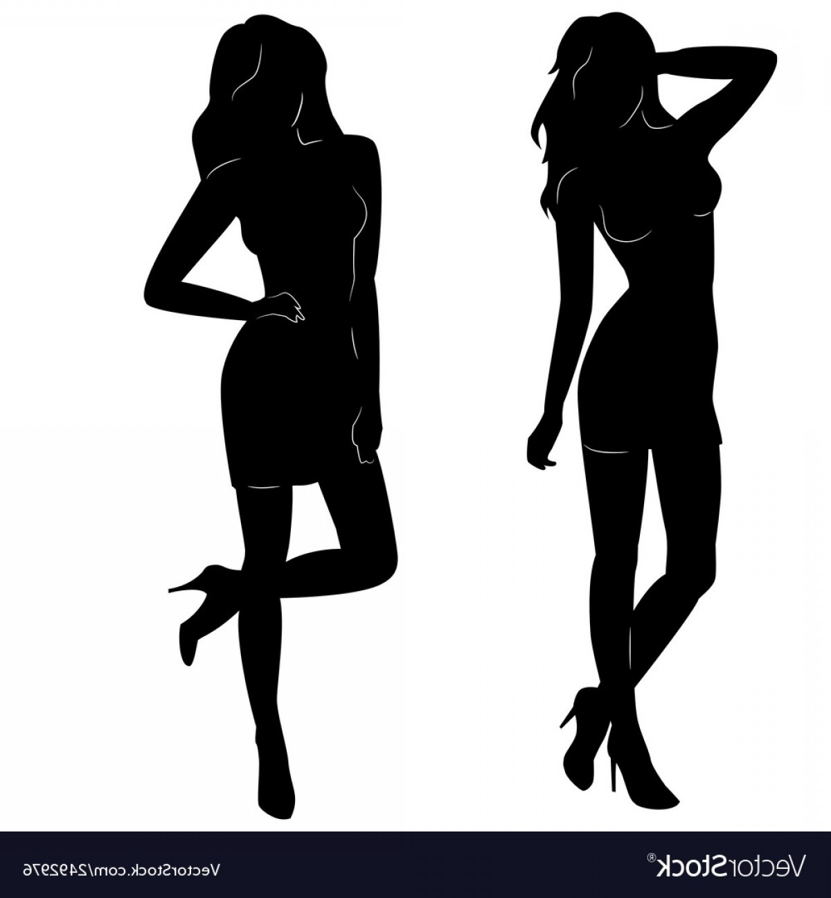 Sexy Silhouette Vector Art: Sexy Woman Silhouettes In Short Dresses Vector