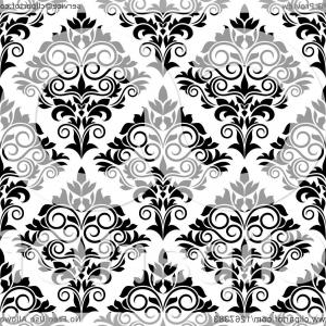 Damask Background Vector Art: Seamless Pattern Background Of Vintage Black And White Ornate Floral Damask