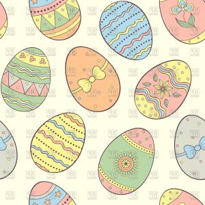 Easter Vector Art No Background: Seamless Pattern With Cute Easter Eggs Vector Clipart