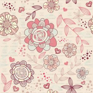 Romantic Vintage Flowers Vector: Seamless Romantic Pastel Wallpaper With Stylized Flowers Vector Clipart