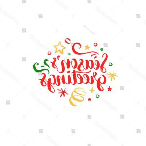 Season S Greetings Vector Free: Seasons Greetings Lettering On White Background