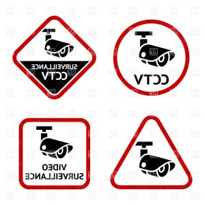 Vector Lables: Security Camera Sticky Labels Vector Clipart
