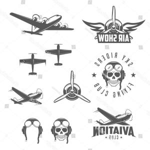 Old School Airplane Fighter Silhouette Vector: Set Airplane Show Labels Flying Club