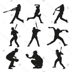 Baseball Catcher Silhouette Vector: Silhouette Color With Baseball Catcher Vector