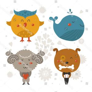 Cute Baby Animal Vector: Set Cartoon Animals Cute Baby Animal