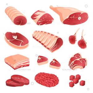 Vector Steak Loin: Set Cartoon Food Meat Cuts Assortment Vector Illustration