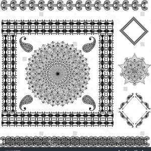 Tattoo Templates Vector Frames: Abstract Floral Tattoo Pattern Template Frame