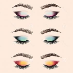 Vector Illustration Eyes Makeup: Photostock Vector Vector Woman Eyes Set Eye Woman Girl Eye Beauty Makeup Eye Illustration