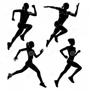 Runner Girl Vector: Set Four Women Girls Who Run Vector Illustration Running Woman Sport Vector Illustration Image