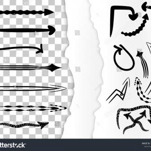 Torn Paper Vector Outline: Set Hand Drawn Arrow Doodles Isolated