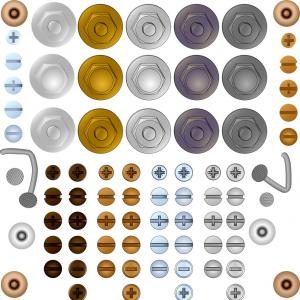 Screw Bolt Head Vector Art: Set Of Bolt And Screw Heads Vector