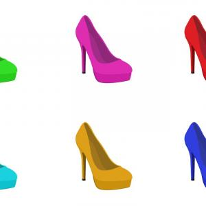 Stilettos Silhouette Vector: Set Of High Heels Shoes Vector