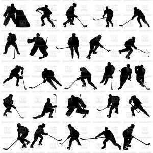 Hockey Player Silhouette Vector: Set Of Ice Hockey Players Silhouettes Vector Clipart