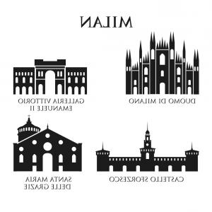 Italy Vector Sihouette: Set Of Italy Architecture Landmarks Pictogram In Vector