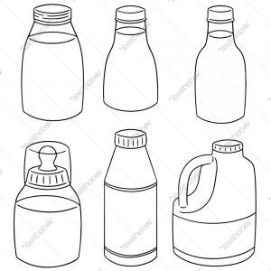Milk Bottle Vector Ai: Set Of Milk Bottle Vector