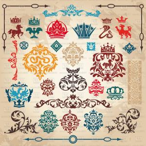 Vector Royal Vintage: Set Of Multicolored Royal Vintage Design Elements Vignettes And Crowns Vector Clipart