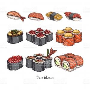 Sushi Vector Art: Set Of Rolls And Sushi Gm