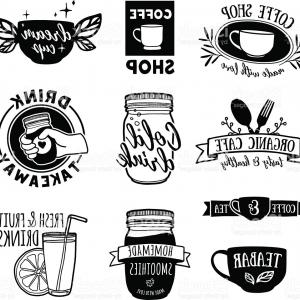 Teas Drinks Vector: Set Retro Vintage Logos For Coffee Shop Tea Bar Gm