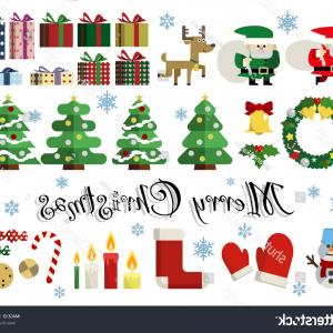 Simple Vector Illustrations: Set Simple Vector Illustrations Lovely Christmas