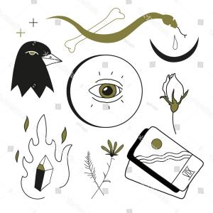 Illustrations And Vector Graphics: Set Vector Graphics Mystical Objects This