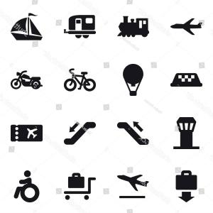 Vector Vacuum Trailer: Set Vector Icons Such Plane