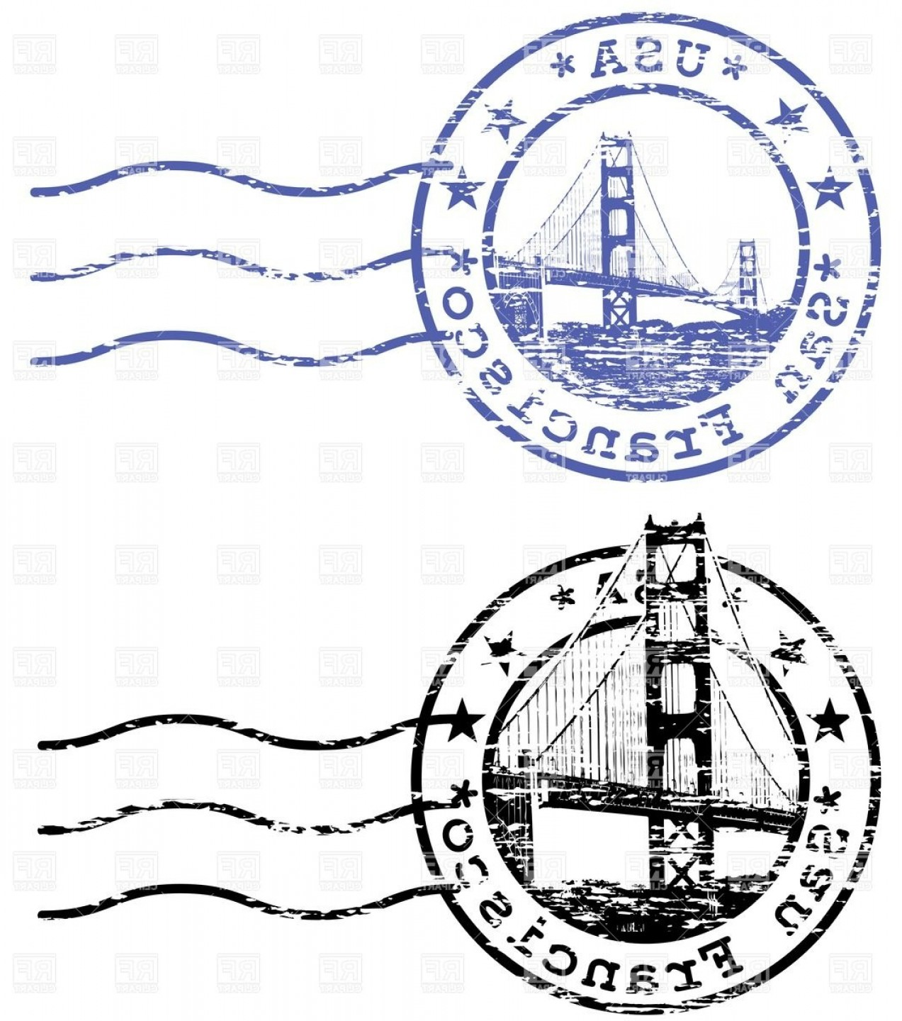 California Seal Vector EPS: Shabby Stamp With Cityscape Of San Francisco And Golden Gate Sights Of California Vector Clipart