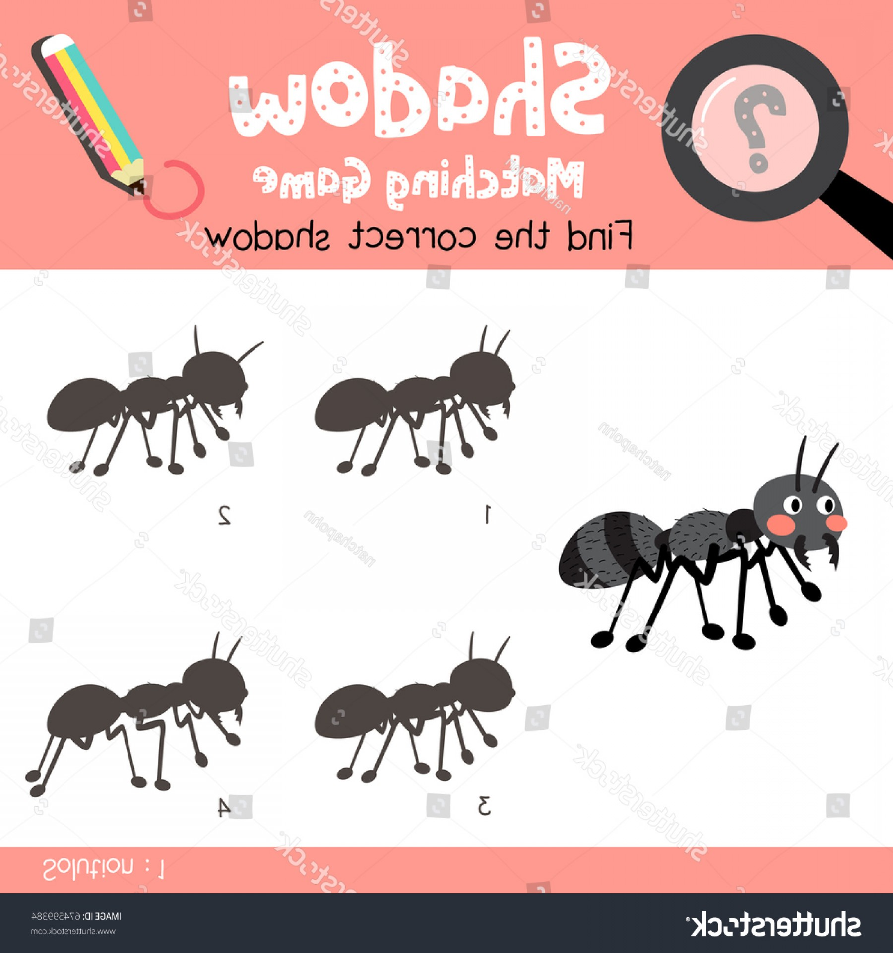Mosquito Vector Worksheet: Shadow Matching Game Black Ants Animals