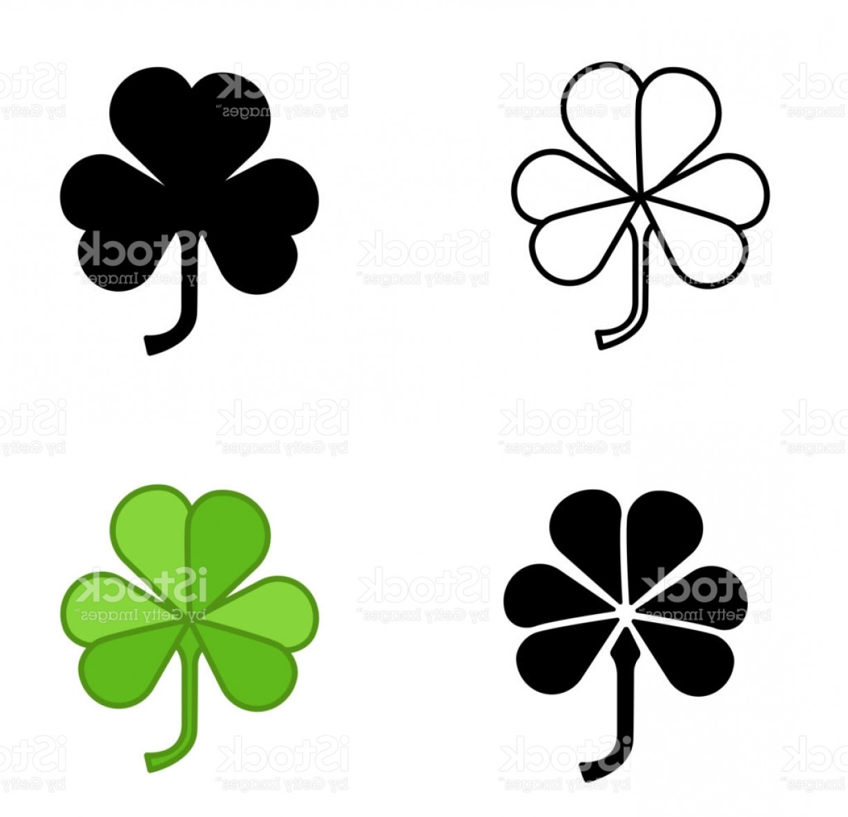 Shamrock Vector Icon Trefoil Art Set Shamrock Vector Icon Of Types ...