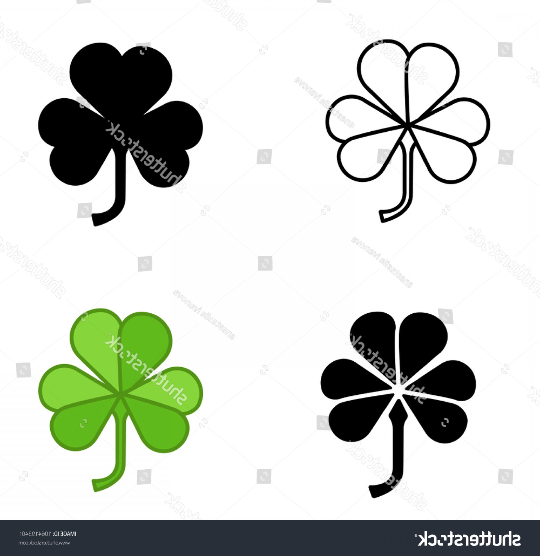 Four Leaf Clover Vector Art Black And White: Shamrock Vector Icon Trefoil Art Setshamrock
