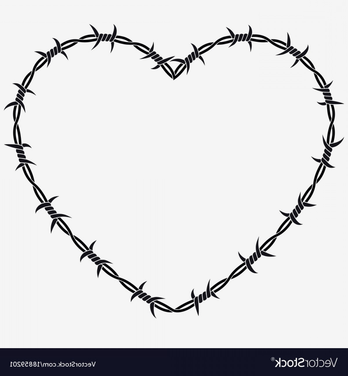 TIF Barbed Wire Vector: Shape Of Heart Silhouette Of Barbed Wire Vector
