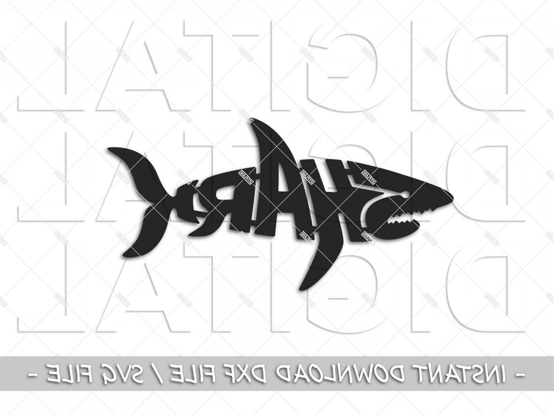 Plasma Art Fishing Vector Files: Shark Dxf File Cnc Plasma Laser Svg File