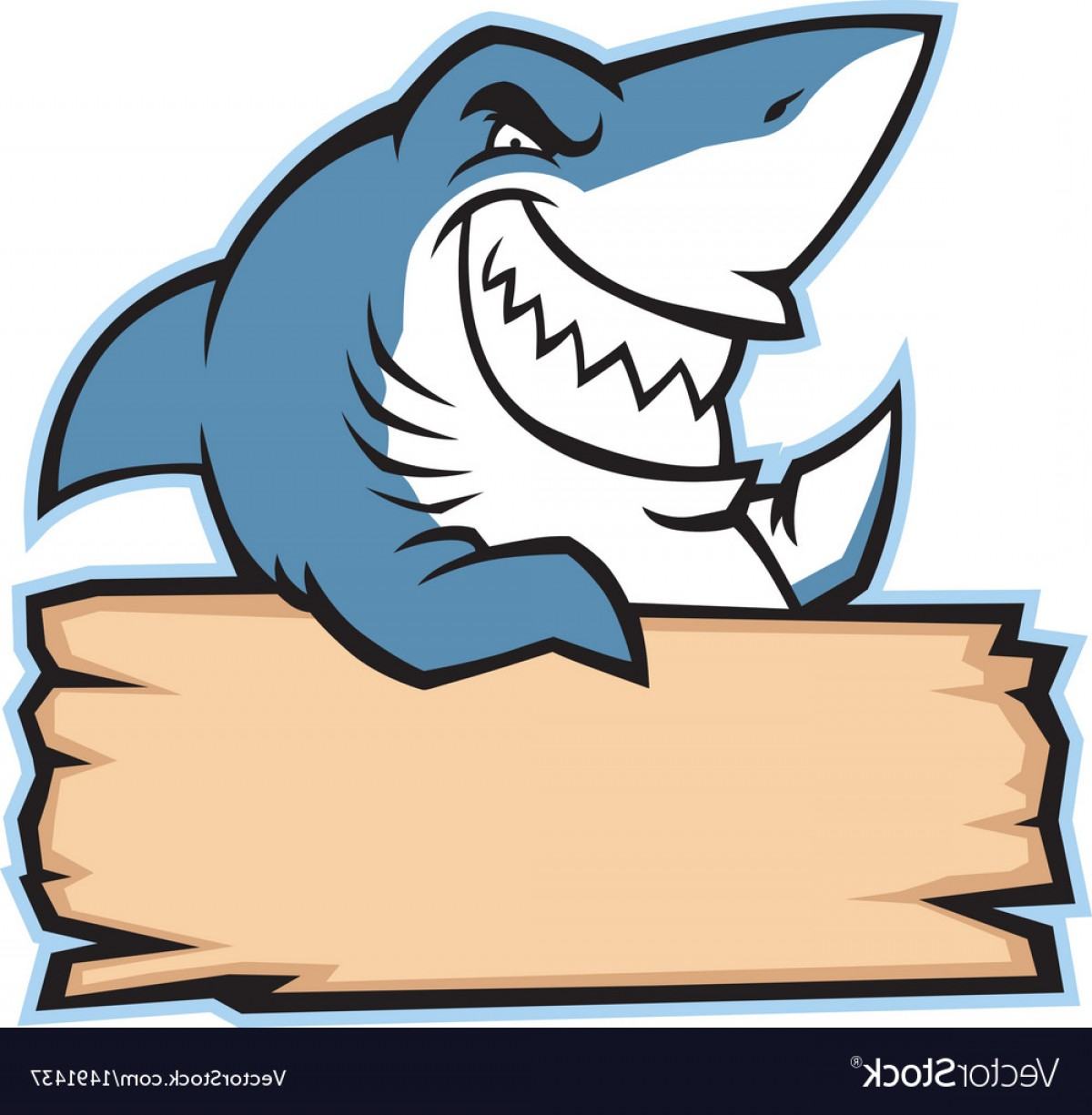Bull Shark Jaws Vector Art: Shark Hold Wood Sign Vector