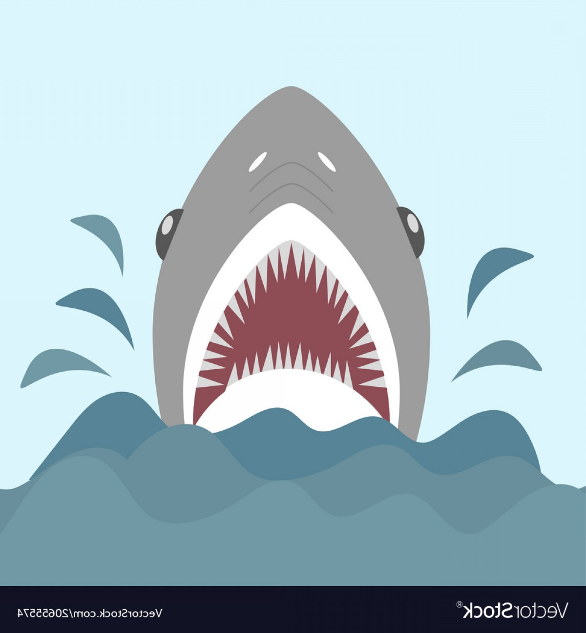 Bull Shark Jaws Vector Art: Shark With Open Jaws And Sharp Teeth Vector