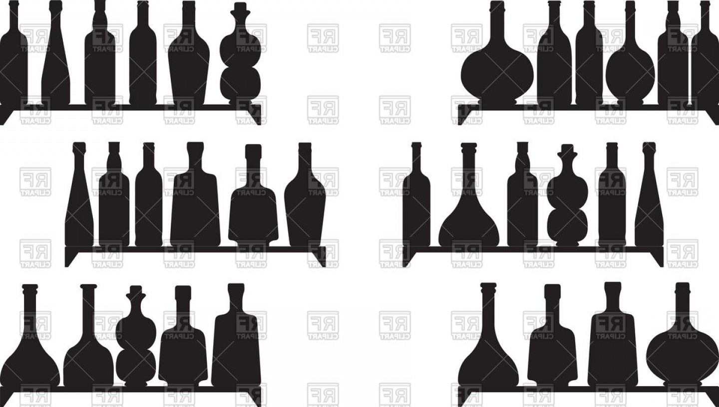 Booze Bottle Vector: Shelves With Booze Silhouettes Vector Clipart