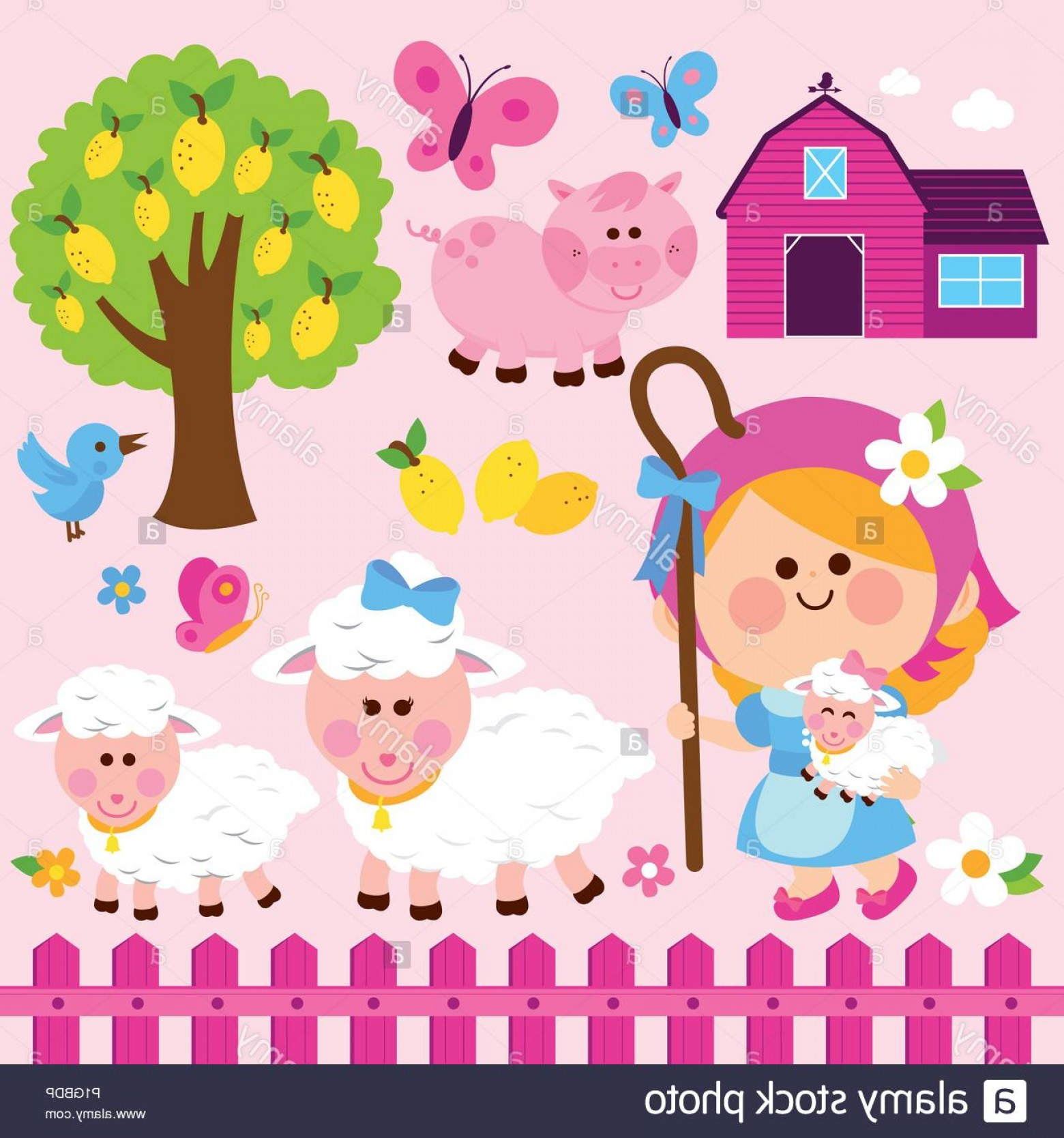 Farm Vector Illustration: Shepherdess Girl And Animals At The Farm Vector Illustration Collection Image