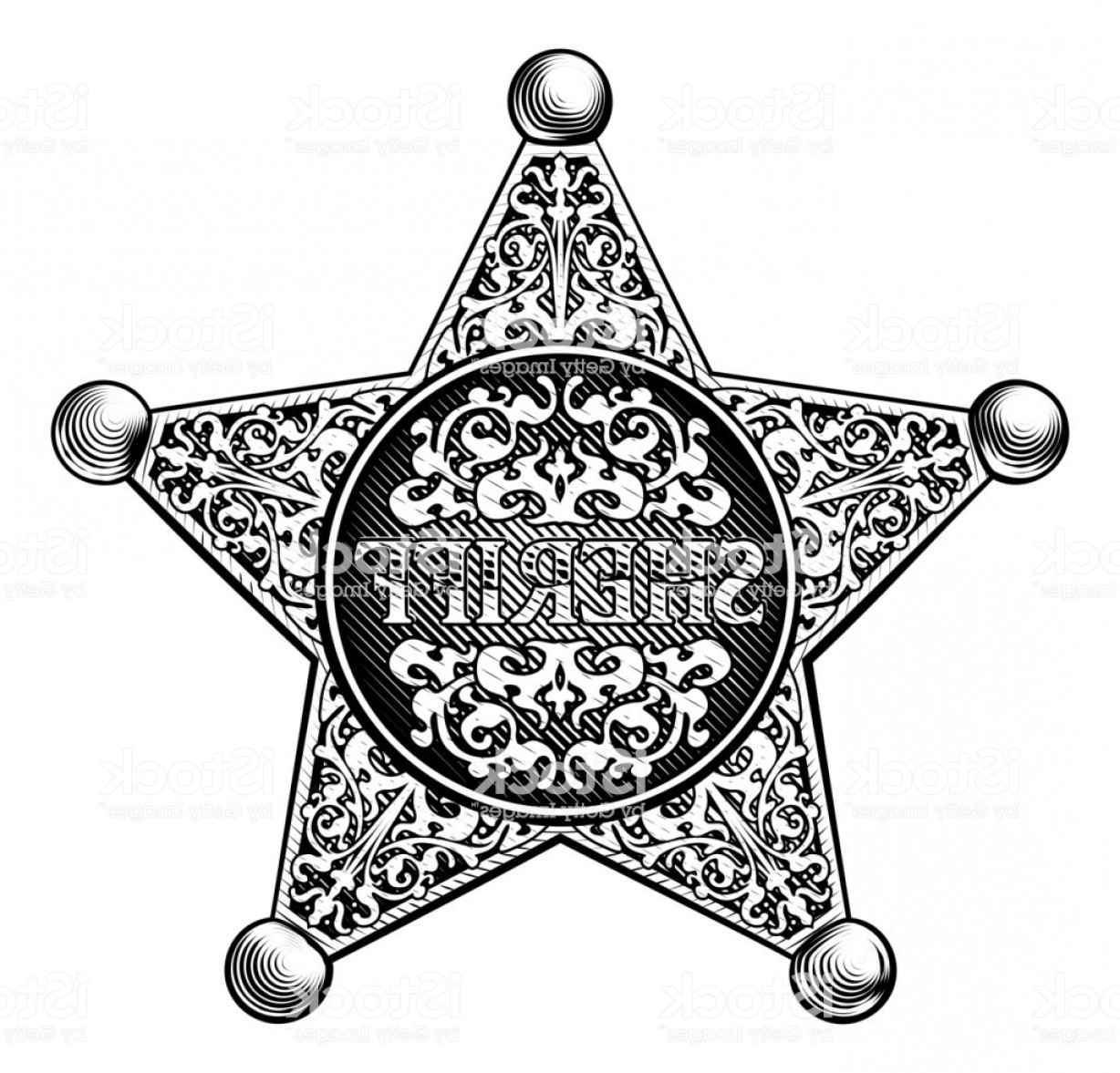 Western Star Vector Graphics: Sheriff Star Badge Western Style Gm