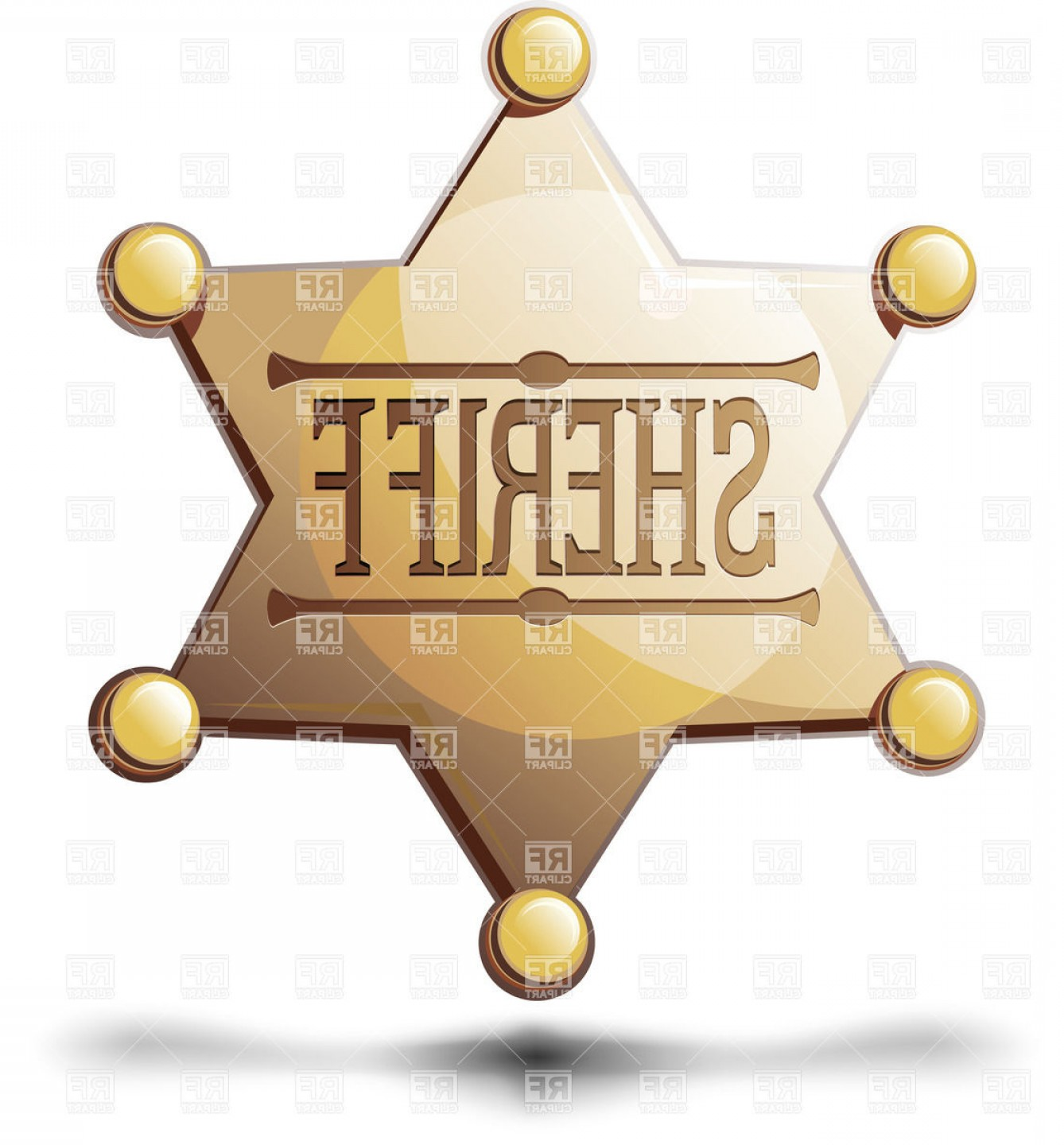 Star Badge Vector: Sheriffs Six Pointed Star Golden Badge Vector Clipart