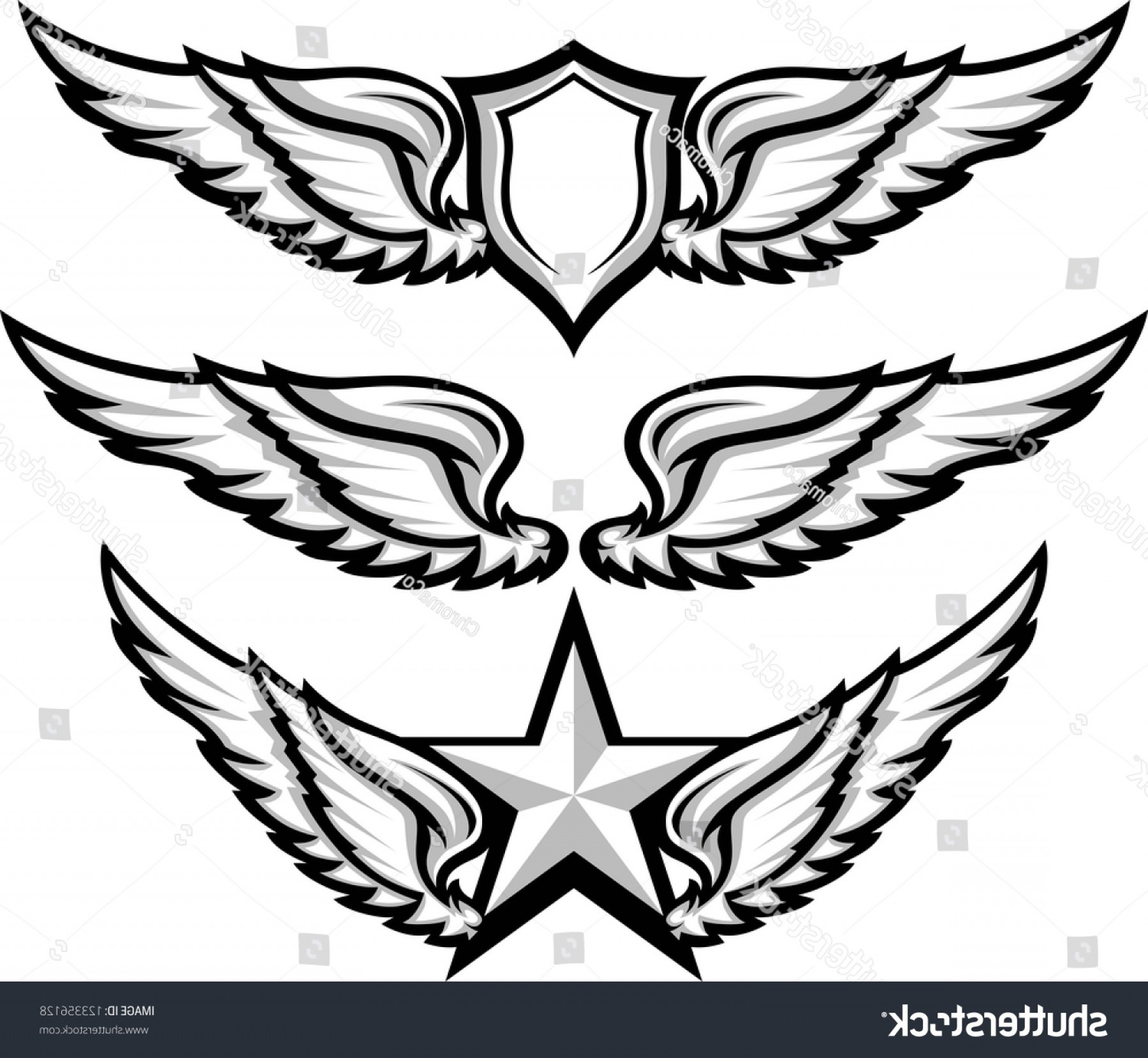 Shield With Wings Vector HD: Shield Wings Emblems Vector Illustration
