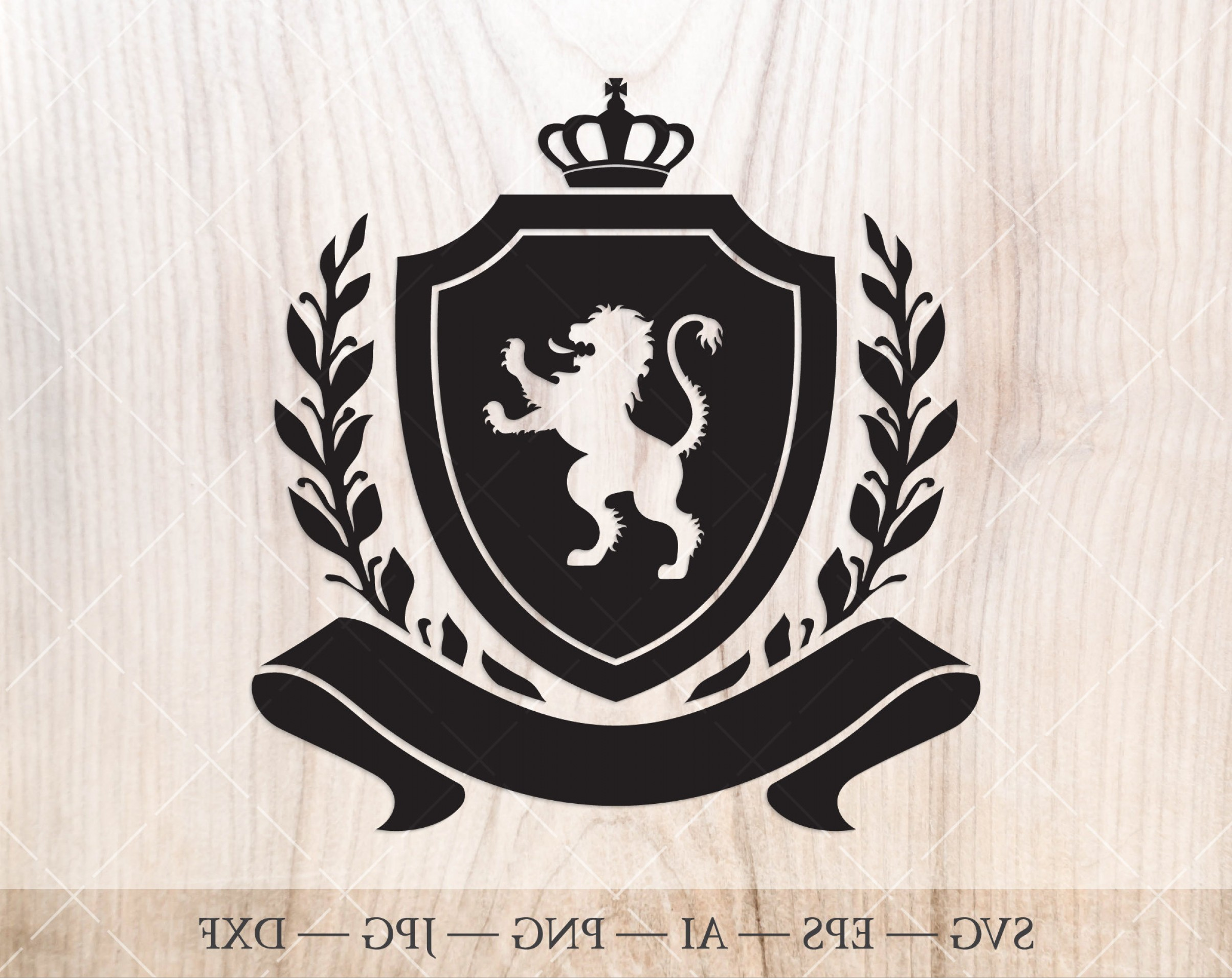 Crest And Coat Of Arms Vector Silhouette: Shield With Crown Laurel Wreath And Lion