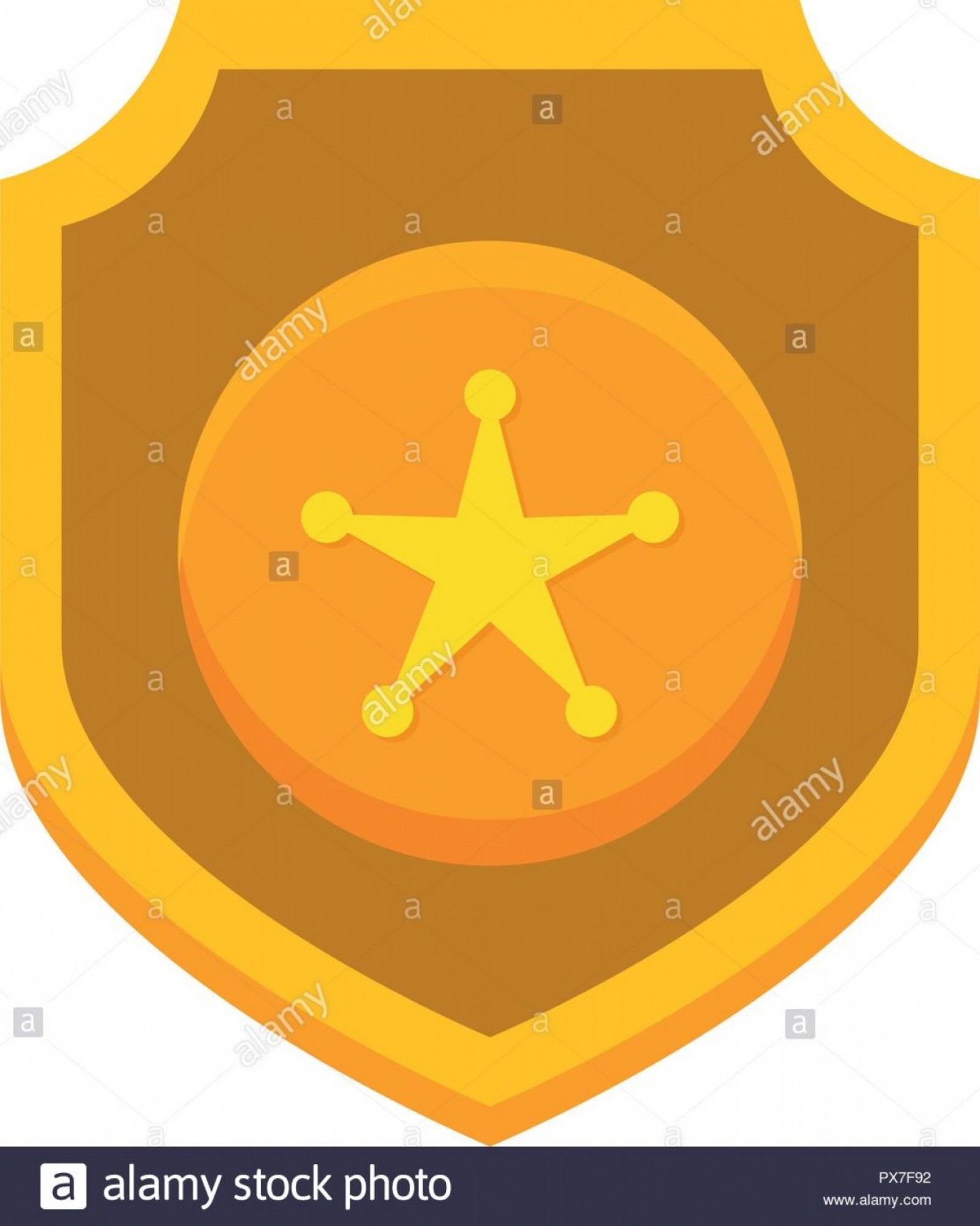 Star Badge Vector: Shield With Star Police Badge Vector Illustration Design Image