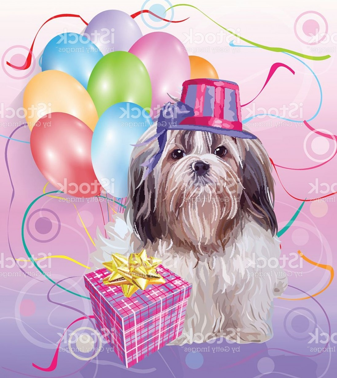 Shih Tzu Vector Siluete: Shih Tzu Dog Birthday Gm
