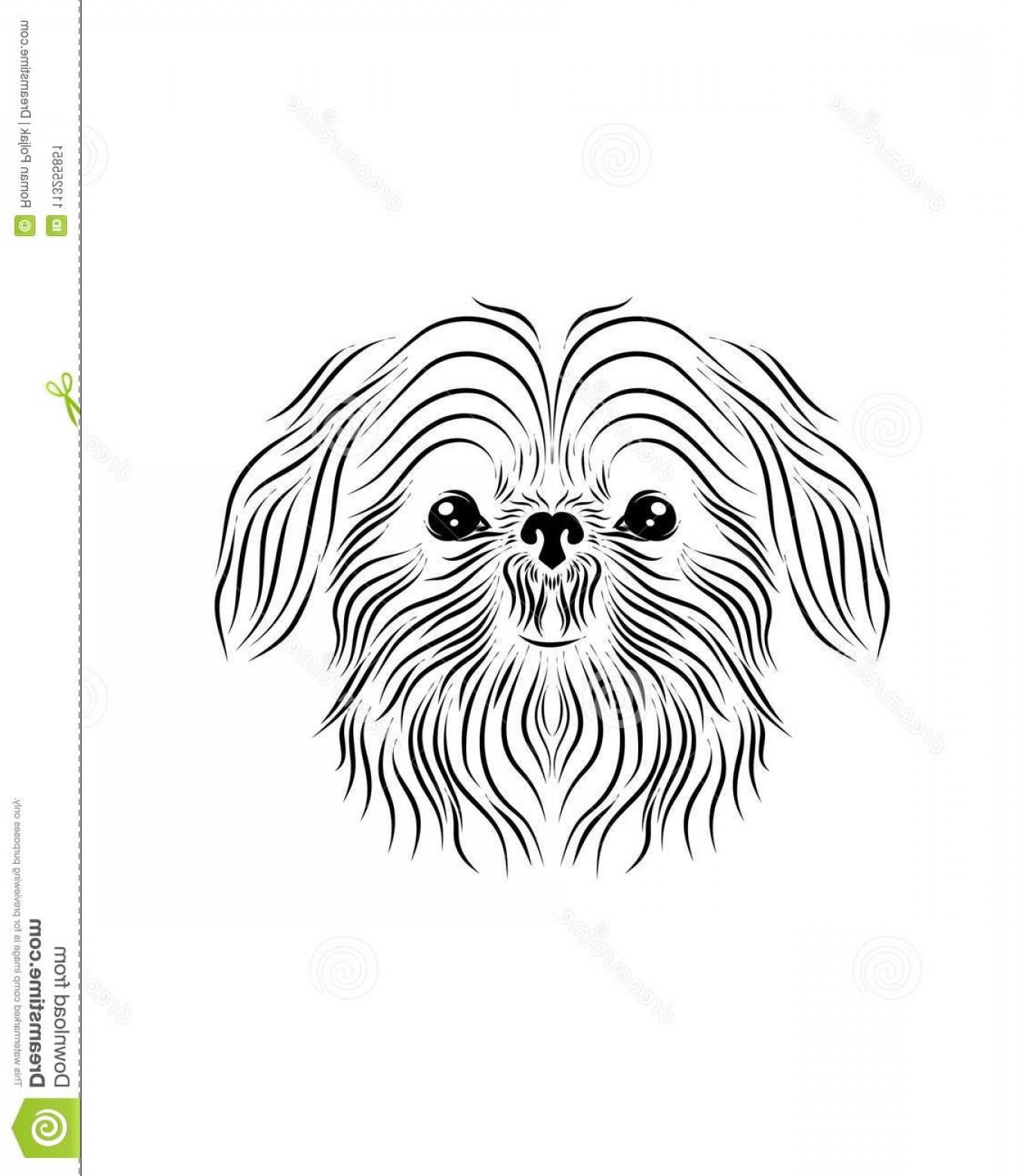 Shih Tzu Vector Siluete: Shih Tzu Dog Line Art Tribal Freehand Vector Illustration Shih Tzu Dog Line Art Tribal Freehand Vector Illustration Print Pod Image