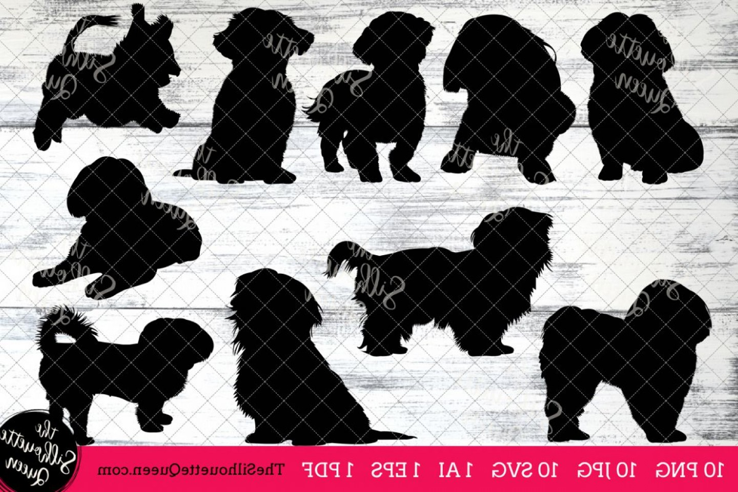 Shih Tzu Vector Siluete: Shih Tzu Dog Silhouette Clipart Clip Art Ai Eps Svgs Jpgs Pngs Pdf Shih Tzu Clipart Vectors Commercial And Personal Use